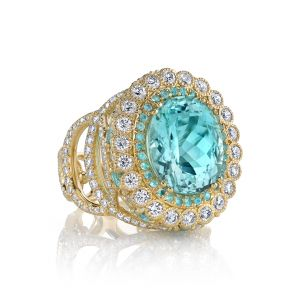 Paraiba Tourmaline Easter Egg Ring